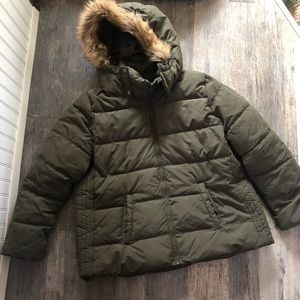 Old Navy | Olive Green Puffer Jacket Faux Fur Hood